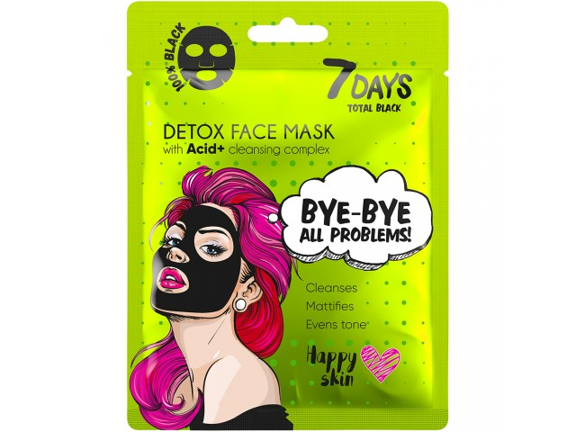 7DAYS TOTAL BLACK Bye-Bye, Skin Problems Sheet Mask 25g