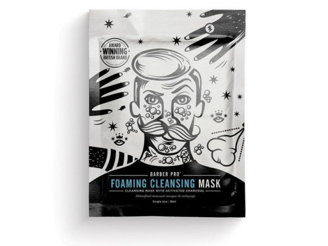 BARBER PRO FOAMING CLEANSING MASK (bubbling cleansing mask with activated charcoal)