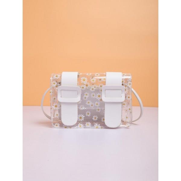 Crossbody Διάφανη Τσάντα Με μαργαρίτες- Λευκή
