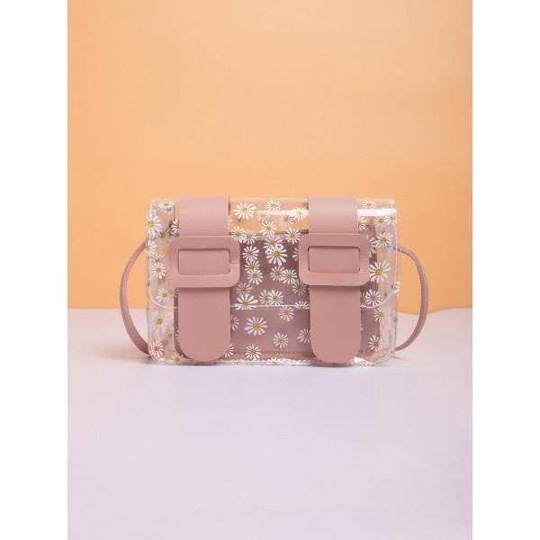 Crossbody Διάφανη Τσάντα Με μαργαρίτες- Σομόν